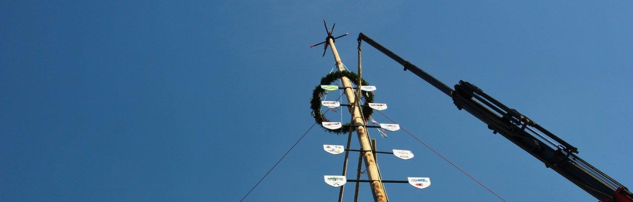 Maibaum wird mit Kran aufgestellt © NB