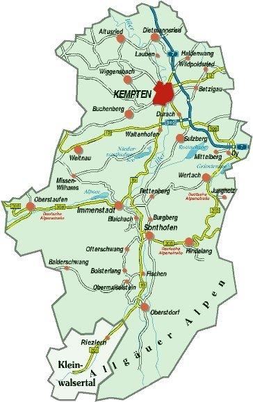 Übersichtskarte Landkreis Oberallgäu © Landkreis Oberallgäu
